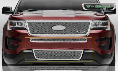 Upper Class Series Grilles - T-REX Grilles - Ford Explorer - Upper Class - 2 Piece Overlay - Bumper Grille - Polished Stainless Steel Formed Mesh - Pt # 55664