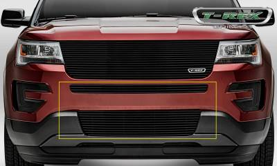 Billet Series Grilles - T-REX Grilles - Ford Explorer - Billet - 2 Piece Overlay - Bumper Grille - Black Powder Coated Finish - Pt # 25664B