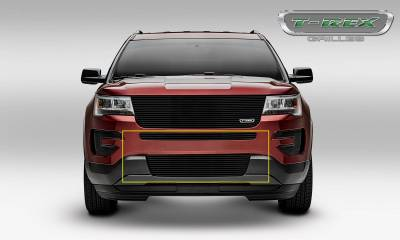 T-REX Grilles - 2016-2017 Explorer Billet Bumper Grille, Black, 2 Pc, Insert, Does Not Fit Vehicles with Camera - PN #25664B - Image 2