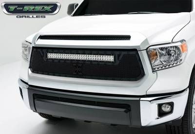 "Stealth Metal Grilles - T-REX Toyota Tundra TORCH Series LED Light Grille,1 - 30"" LED Bar, Formed Mesh, Main Grille, Replacement, 1 Pc, Black Powdercoated Mild Steel For off-road use only - Pt # 6319641-BR"