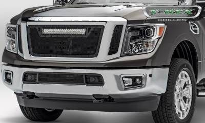 "Stealth Series Grilles - T-REX Grilles - Nissan Titan - Torch Stealth - 3 Pc Insert - Main Grille w/ (1) 20"" LED Light Bar - Black - Pt # 6317851-BR"