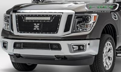 Torch Series Grilles - T-REX Nissan Titan - Torch Series w/ (1) ZROADZ LED Light Bar - 3 Pc Insert - Main Grille - Black - Pt # 6317851