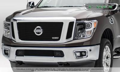 T-REX Grilles - Nissan Titan - Billet Series - 3 Pc Insert - Main Grille w/ Logo Mounts - Black - Pt # 20785B