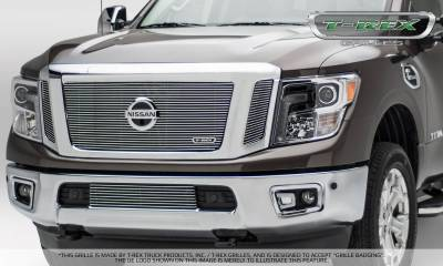Billet Series Grilles - Nissan Titan - Billet Series - 3 Pc Insert - Main Grille w/ Logo Mounts - Polished - Pt # 20785