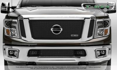 T-REX Grilles - 2016-2019 Titan Upper Class Series Main Grille, Black, 3 Pc, Insert, Fits Vehicles with Camera - PN #51785 - Image 4