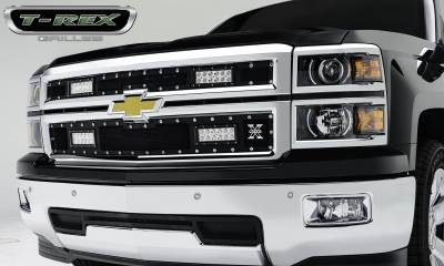 "Torch Series Grilles - T-REX Grilles - Chevrolet Silverado Torch Series LED Light Grille,4 - 6"" LED Bar, Formed Mesh Grille, Main, Replacement, 2 Pc's  Pt # 6311211"