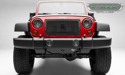 Stealth Series Grilles - T-REX Grilles - Jeep Wrangler X-METAL Series - Tactical Balck Studded Main Grille - ALL Black - 1 Pc Custom Cut Center Bars - Pt # 6714831-BR