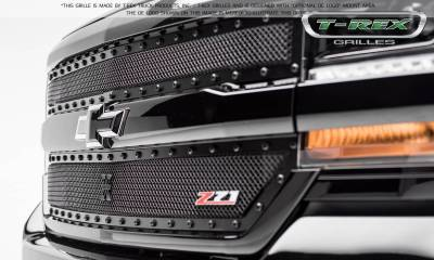 Stealth Metal Grilles - T-REX Chevrolet Silverado 1500 X-METAL Series, STEALTH METAL - Blacked Out All Black, 2 Pc Main Grille Overlay - Fits Z71 Only - Pt # 6711241-BR