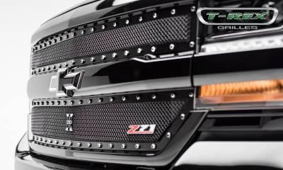 T-REX Grilles - 2016-2018 Silverado 1500 Z71 X-Metal Grille, Black, 2 Pc, Insert, Chrome Studs - PN #6711241