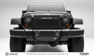 "T-REX Grilles - 2007-2018 Jeep JK, JKU ZROADZ Grille, Black with Black Trim, 1 Pc, Insert, Incl. (1) 10"" LED - PN #Z314831-10C"