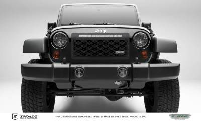 ZROADZ Series Grilles - T-REX Grilles - Jeep Wrangler - ZROADZ Series - Main Insert - Grille w/ One 20 Inch Slim Line Single Row LED Light Bar - Part# Z314831-20T
