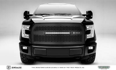 ZROADZ Series Grilles - T-REX Grilles - Ford F150 - ZROADZ Series - w/o Forward Facing Camera - Main Replacement - Grille w/ One 20 Inch Slim Line Single Row LED Light Bar -  Part# Z315731