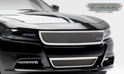 T-REX Grilles - 2015-2019 Charger Upper Class Bumper Grille, Polished, 1 Pc, Overlay - PN #55480 - Image 5