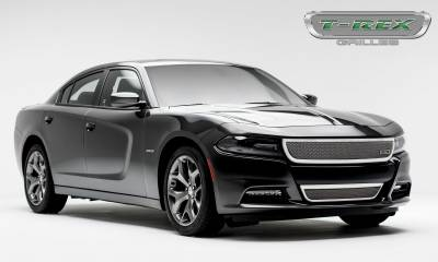 T-REX Grilles - 2015-2019 Charger Upper Class Bumper Grille, Polished, 1 Pc, Overlay - PN #55480 - Image 4