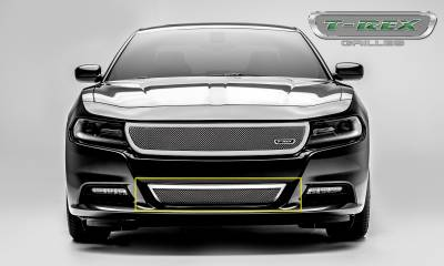 T-REX Grilles - 2015-2020 Charger Upper Class Bumper Grille, Polished, 1 Pc, Overlay - PN #55480 - Image 2