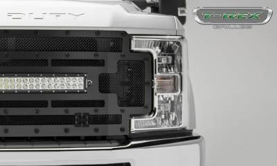 "T-REX Grilles - 2017-2019 Super Duty Stealth Torch Grille, Black, 1 Pc, Replacement, Black Studs, Incl. (1) 30"" LED - PN #6315471-BR - Image 3"
