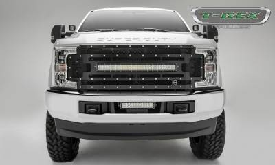 "Torch Series Grilles - T-REX Ford F-250 / F-350 Super Duty - TORCH Series - Main Replacement Grille - (1) 30"" Curved LED Light Bar - Steel Frame w/ Wire Mesh - Studded with Black Powdercoat Finish - Pt # 6315471"