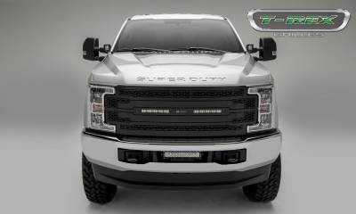 "ZROADZ Series Grilles - T-REX Ford F-250 / F-350 Super Duty - ZROADZ Series - Main Replacement Grille - (2) 10"" Slim Line Single Row LED Light Bars - ZROADZ Laser Cut pattern with Black Powdercoat Finish - Pt # Z315471"