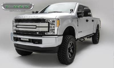 "Torch Series Grilles - TORCH-AL Series - T-REX Ford F-250 / F-350 Super Duty - TORCH-AL Series - Main Replacement Grille - (1) 30"" LED Light Bar - Black w/ Black Mesh & Brushed Aluminum & Trim - Pt # 6315483"