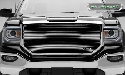 Billet Series Grilles - T-REX GMC Sierra 1500 Laser Billet Main Grille without Logo Cutout - Insert - Polished - Pt # 6202140