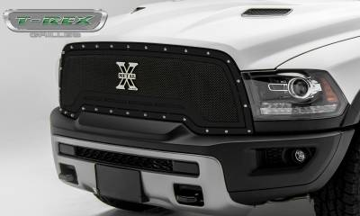 X-Metal Series Grilles - T-REX Grilles - T-REX Ram Rebel - X-METAL Series - Main Grille Replacement - Steel Frame w/ Wire Mesh - Studded with Black Powdercoat Finish - Part #6714641