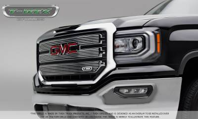 Billet Series Grilles - GMC Sierra 1500 SLT - Laser Billet Main Grille - 3 PC Overlay - Polished - Pt # 21215