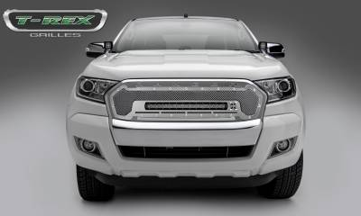 Torch Series Grilles - T-REX Ford Ranger T6 -Torch Series - Main Replacement - Grille w/ One 20 Inch Slim Line Single Row LED Light Bar, Polished Stainless Steel - Includes Universal Wiring Harness - Part# 6315760