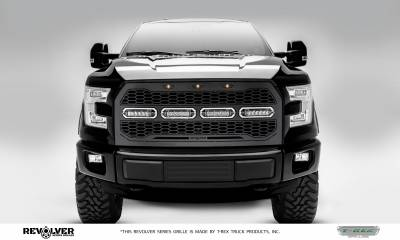 "T-REX Grilles - 2015-2017 F-150 Revolver Grille, Black, 1 Pc, Replacement, Chrome Studs, Incl. (4) 6"" LEDs, Fits Vehicles with Camera - PN #6515741"