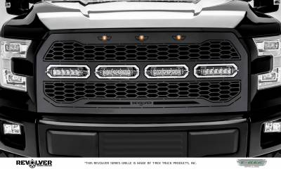 "T-REX Grilles - 2015-2017 F-150 Revolver Grille, Black, 1 Pc, Replacement, Chrome Studs, Incl. (4) 6"" LEDs, without Forward Facing Camera - PN #6515731 - Image 2"