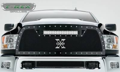 "T-REX Grilles - 2010-2012 Ram 2500, 3500 Torch Grille, Black, 1 Pc, Replacement, Chrome Studs, Incl. (1) 20"" LED - PN #6314531 - Image 2"