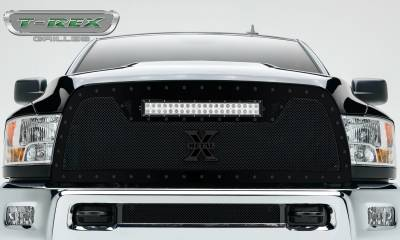 "T-REX Grilles - 2013-2018 Ram 2500, 3500 Stealth Torch Grille, Black, 1 Pc, Replacement, Black Studs, Incl. (1) 20"" LED - PN #6314521-BR"