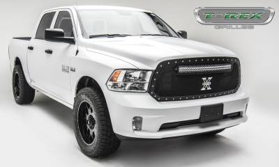 "T-REX Grilles - 2013-2018 Ram 1500 Torch Grille, Black, 1 Pc, Replacement, Chrome Studs, Incl. (1) 30"" LED - PN #6314551 - Image 5"
