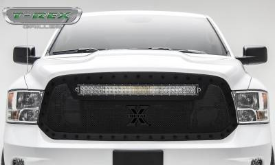 "T-REX Grilles - 2013-2018 Ram 1500 Stealth Torch Grille, Black, 1 Pc, Replacement, Black Studs, Incl. (1) 30"" LED - PN #6314551-BR - Image 2"