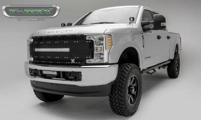 "T-REX Grilles - 2017-2019 Super Duty Torch AL Grille, Black Mesh and Trim, 1 Pc, Replacement, Chrome Studs, Incl. (1) 30"" LED, Fits Vehicles with Camera - PN #6315491 - Image 2"