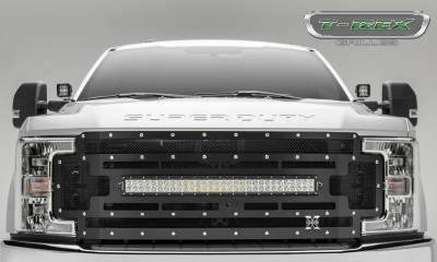 "Torch Series Grilles - T-REX Ford F-250 / F-350 Super Duty w/ Camera Provision - TORCH Series - Main Replacement Grille - (1) 30"" Curved LED Light Bar - Steel Frame w/ Wire Mesh - Studded with Black Powdercoat Finish - Pt # 6315371"