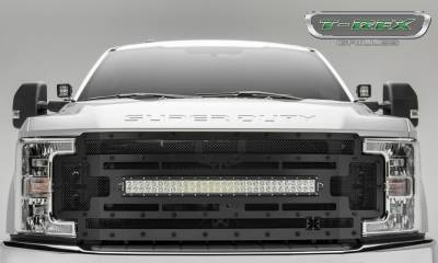 "Torch Series Grilles - T-REX Ford F-250 / F-350 Super Duty  w/ Camera Provision - STEALTH TORCH - Main Replacement Grille - (1) 30"" Curved LED Light Bar - Steel Frame w/ Wire Mesh - Black Studded with Black Powdercoat Finish - Pt # 6315371-BR"