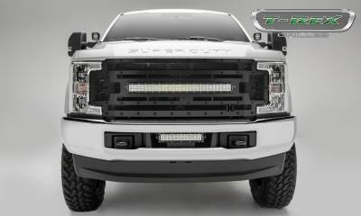 "T-REX Grilles - 2017-2019 Super Duty Stealth Torch Grille, Black, 1 Pc, Replacement, Black Studs, Incl. (1) 30"" LED, Fits Vehicles with Camera - PN #6315371-BR - Image 2"