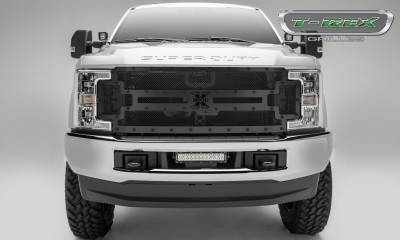 T-REX Grilles - 2017-2019 Super Duty Stealth X-Metal Grille, Black, 1 Pc, Replacement, Black Studs, Fits Vehicles with Camera - PN #6715371-BR - Image 2