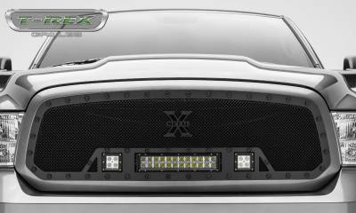 "T-REX Grilles - 2013-2018 Ram 1500 Stealth Torch Grille, Black, 1 Pc, Insert, Black Studs, Incl. (2) 3"" LED Cubes and (1) 12"" LEDs - PN #6314581-BR - Image 2"