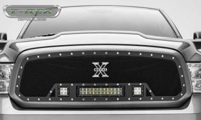 "T-REX Grilles - 2013-2018 Ram 1500 Torch Grille, Black, 1 Pc, Insert, Chrome Studs, Incl. (2) 3"" LED Cubes and (1) 12"" LEDs - PN #6314581 - Image 3"