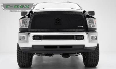 Stealth Series Grilles - T-REX Grilles - Dodge Ram PU 2500 / 3500 X-METAL Series - Studded Main Grille - Custom 1 Pc Full Opening  - ALL Black - Pt # 6714521-BR