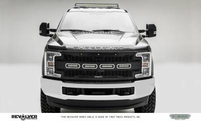 "T-REX Grilles - 2017-2019 Super Duty Revolver Grille, Black, 1 Pc, Replacement, Chrome Studs, Incl. (4) 6"" LEDs, Fits Vehicles with Camera - PN #6515631 - Image 2"