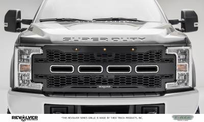 T-REX Grilles - 2017-2019 Super Duty Revolver Grille, Black, 1 Pc, Replacement, Chrome Studs, Fits Vehicles with Camera - PN #6515651 - Image 1