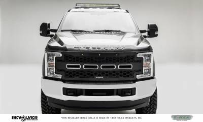 T-REX Grilles - 2017-2019 Super Duty Revolver Grille, Black, 1 Pc, Replacement, Chrome Studs, without Forward Facing Camera - PN #6515711 - Image 2