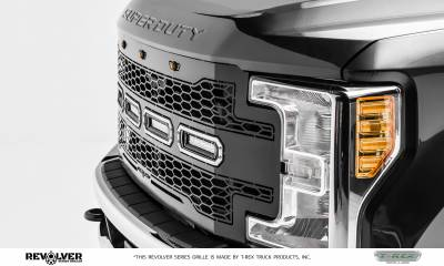 "T-REX Grilles - 2017-2019 Super Duty Revolver Grille, Black, 1 Pc, Replacement, Chrome Studs, Incl. (4) 6"" LEDs, without Forward Facing Camera - PN #6515641 - Image 2"