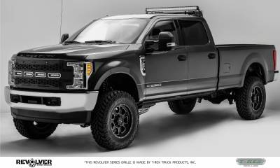 "T-REX Grilles - 2017-2019 Super Duty Revolver Grille, Black, 1 Pc, Replacement, Chrome Studs, Incl. (4) 6"" LEDs, without Forward Facing Camera - PN #6515641 - Image 3"