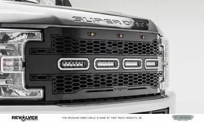 "T-REX Grilles - 2017-2019 Super Duty Revolver Grille, Black, 1 Pc, Replacement, Chrome Studs, Incl. (4) 6"" LEDs, without Forward Facing Camera - PN #6515641 - Image 6"