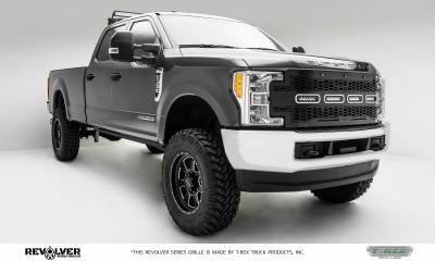 "T-REX Grilles - 2017-2019 Super Duty Revolver Grille, Black, 1 Pc, Replacement, Chrome Studs, Incl. (4) 6"" LEDs, without Forward Facing Camera - PN #6515641 - Image 7"