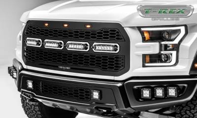 "Revolver Series Grilles - T-REX Ford F-150 Raptor - Revolver Series - w/ Forward Facing Camera - Main Replacement - Grille w/ (4) 6"" Slim Line Single Row LED Light Bar - Includes Universal Wiring Harness - Part # 6515671"