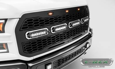 "T-REX Grilles - 2017-2019 F-150 Raptor SVT Revolver Grille, Black, 1 Pc, Replacement, Chrome Studs, Incl. (4) 6"" LEDs, Fits Vehicles with Camera - PN #6515671 - Image 5"